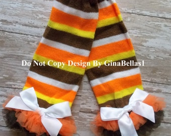 First Thanksgiving leg warmers ruffle bow newborn brown orange turkey day girl first thankful for me baby shower infant size NB 0 3 6 SALE