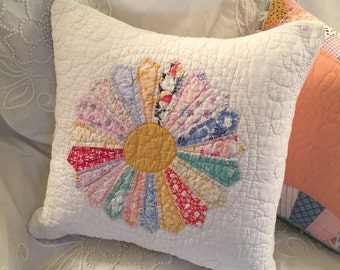 "Vintage Quilt Feather Pillow ~ 15"" Accent Pillow ~ 1940's Hand Stitched Quilt and Vintage Chenille"