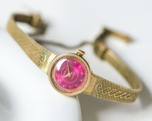 Sleek wriswatch for lady, cocktail watch Dawn, gold plated watch bracelet, raspberry shade watch face, rare design USSR lady watch gift