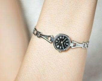 Women's quartz watch black face, modern lady's watch Ray, tiny quartz watch bracelet her, small watch Soviet, delicate woman watch gift