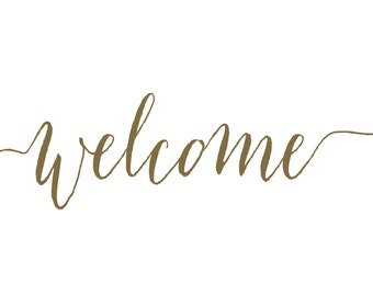 Welcome Decal -Farmhouse Welcome -  Name Wall Decal - Welcome Vinyl Lettering for Door - Front Door Decals