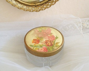 72 HR SALE Art Deco Vanity Jar - Beautiful Floral Blooms