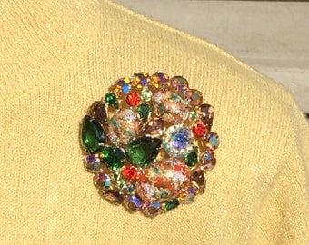 Juliana Jewelry Easter Egg Pin Coral Splatter with Green and AB Rhinestones Large Verified D&E Juliana Jewelry Easter Egg Pin