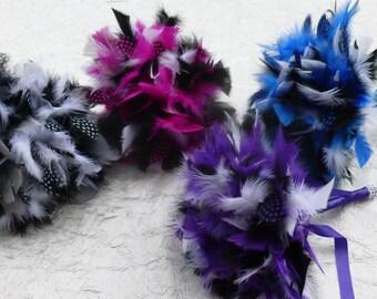 Bridesmaids bouquets, bridal bouquet, Custom colors, vintage, feather bouquet, 20s style, 30s style