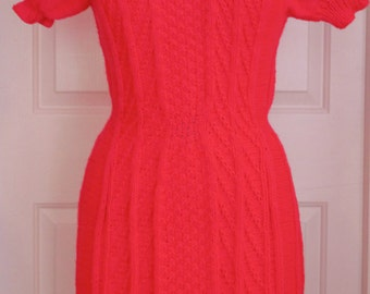 Handknitted sz Medium Sweater-Dress, Bright Pink