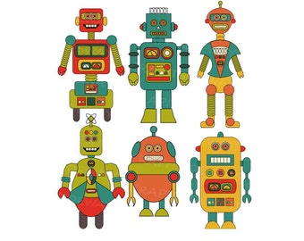 Retro Robots Digital Clipart INSTANT DOWNLOAD Printable Images Scrapbooking Vectors Graphics For Personal and Commercial Use VG-002
