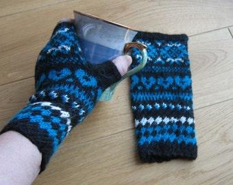 Hand Knitted Fingerless Gloves Patterned Mittens Arm Warmers Dark Blue White Black Gift