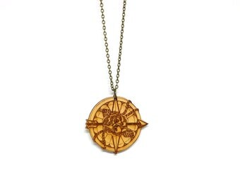 Compass Rose - Handmade - laser cut - laser cut jewelry