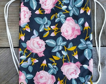 SALE! Floral Corduroy Drawstring Backpack - Childrens Backpack - Ready to ship