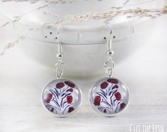 Red Earrings - Art Jewelry - Earrings - White Earrings - Jewelry - Wedding Earrings - Flower Earrings (0-42E)
