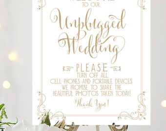 Welcome to our Unplugged Wedding Sign | 8 x 10 Sign | DIY Printable | Bella | Antique Gold | PDF and JPG Files | Instant Download