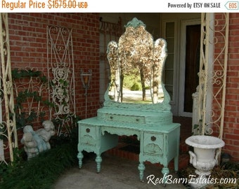 ON SALE BREATHTAKING Vanity Custom Order An Antique Dresser Shabby Chic Painted Distressed Restored Bedroom Bathroom Furniture