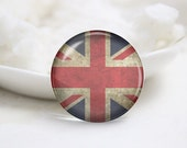 Handmade Round The Union Jack Photo Glass Cabochons (P3662)