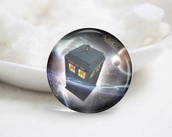 Handmade Round Dr.Who Tardis Photo Glass Cabochons (P3641)