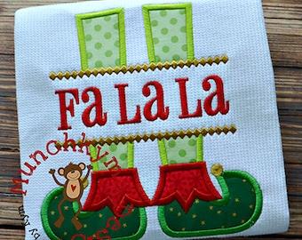 FALALA Christmas Shirt - Elf Design - Girl's or Boy's Holiday Shirt Design - Christmas Applique shirt