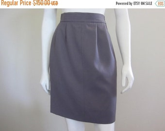 Yves Saint Laurent / YSL / High Waisted Skirt / 1980s / Gabardine / Designer Clothing /