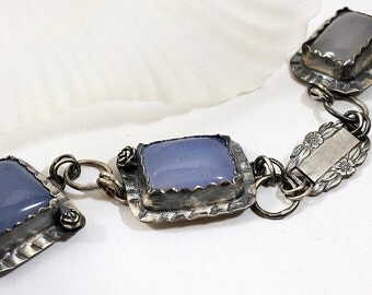 Sterling Silver Forget Me Not Blue Bracelet with Vintage Link, Gray Pearl and Lamp Work Bead