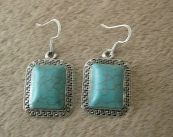 Rectangle Turquoise and Tibetan silver pierced earrings