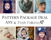 Crochet Patterns - Knitting Patterns - Discount Design Pattern Package -  Choose ANY 4 - Crochet Hat Patterns - Knitting Patterns for Women