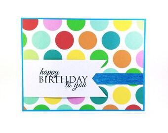 Happy Birthday Polka Dots, birthday card for kids, fun birthday card, kids birthday, boys birthday card, girls birthday card