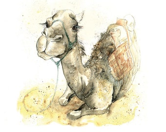Giclee Fine Art Print: Happy Camel Watercolour Painting