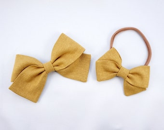 Mustard Linen Hand Folded Bow Headband Nylon Skinny Headband