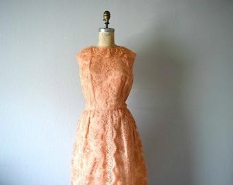 50% SALE . 60s lace dress . 1960s lace vintage dress . orange sorbet dress