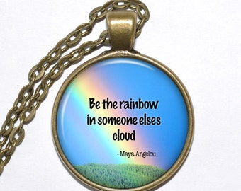 MAYA ANGELOU QUOTE Necklace, Art Pendant Necklace, Inspirational Necklace, Glass Pendant, Handmade Jewelry