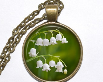 LILY of THE VALLEY Necklace, Flower Necklace, Convallaria majalis, Art Pendant Necklace, Glass Pendant, Handmade Jewelry