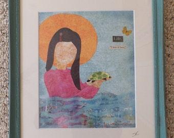 Girl with BABY Turtle,  Original Art, Girls Room, Playroom, Nursery Art, Pastel Collage
