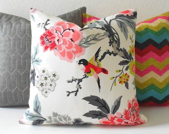 Both sides, Multicolor pink, gray, lime and white bird floral decorative pillow cover