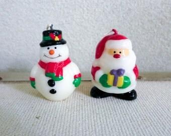 Vintage Miniature Santa and Snowman Candles - Colorful Christmas Candles - Miniature Christmas Decoration - Wreath Accessory