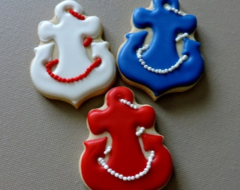 Small sized anchor  Hand decorated sugar cookies for baby showers and other events (#2627)