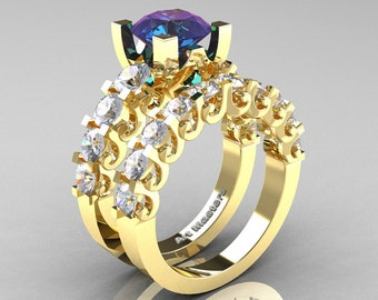 Modern Vintage 14K Yellow Gold 3.0 Ct Alexandrite White Sapphire Designer Wedding Ring Bridal Set R142S-14KYGWSAL