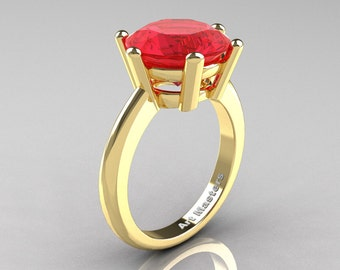 Classic Russian Bridal 14K Yellow Gold 5.0 Carat Ruby Crown Solitaire Ring RR133-14KYGR