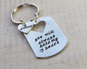 Personalized Key Chain- Heart Cutout Key Chain- Dog Tag Key Chain- Heart Key Chain- Hand Stamped Key Chain- Silver Key Chain