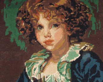 Vintage French needlepoint tapestry canvas - Child portrait Renoir way - Child needlepoint