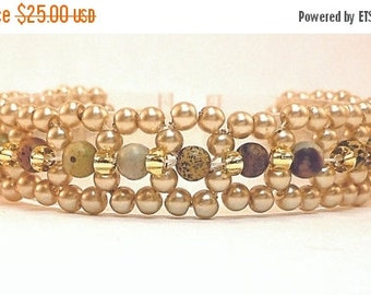 Clearance Sale Pearl and Stone Right Angle Weave Bracelet - Seed Bead Bracelet with Lobster Claw Clasp - Handmade