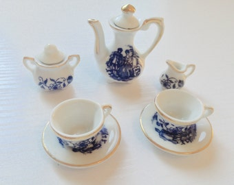 Darling Blue and White Miniature Coffee Set