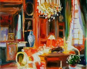 INTERIOR. Art print, Original art work, painting of beautiful interior, red chair, French window