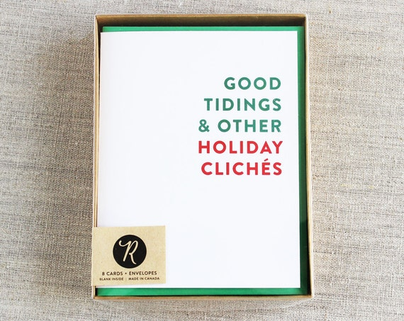 Holiday Card Set, Christmas Cards, Boxed Set, Funny Christmas Card, Sarcastic Holiday Cards
