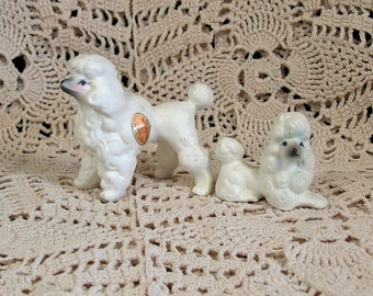 Vintage 2 White Bone China Miniature Poodle Family Japan