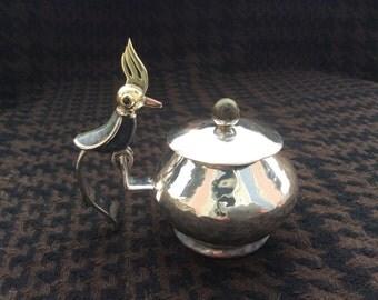 Vintage TAXCO Los Castillo Mexico Lidded Bowl with Lapis Stone mosaic Bird Figurine sculptur handle