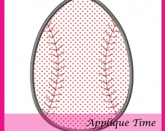 Instant Download Baseball Easter Egg Machine Embroidery Applique Design 4x4, 5x7 and 6x10