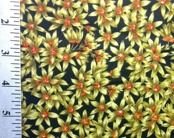 Green Flower print fabric by the yard, Floralnopoly by Jackii Jones for Marcus Textiles / 100% Cotton