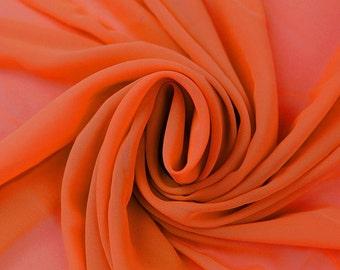 Hi Multi Chiffon Fabric - 10 Yards - Bright Orange (273)