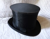 Antique French silk collapsible top hat Gibus black opera steampunk top hat antique victorian mens top hat made in Tours w gilded stamps