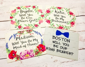 Will you be my flower girl or will you be our ring bearer 5x7 puzzle, party favor, wedding accessories, pop question