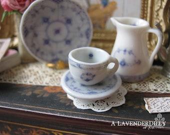 Blue Royal Tea Cup and Saucer for Dollhouse