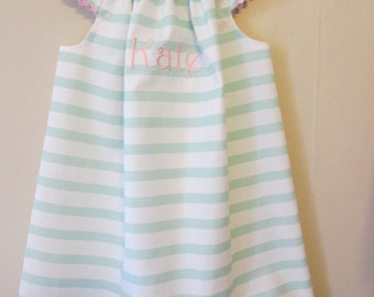 Custom Made Monogrammed Girls Angel Sleeve Mint Green and White Dress  Sizes 6 months to 8 years